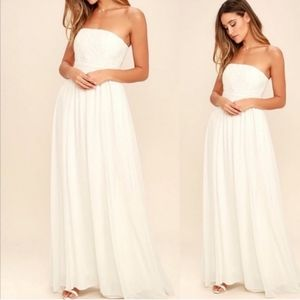 LULU'S Forever Lovely White Embroidered Maxi Dress